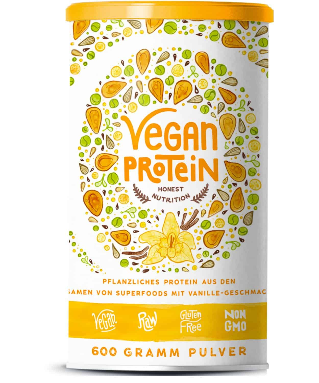 Vegan Protein | VANILLE | Pflanzliches Proteinpulver mit Reis-, Soja-, Erbsen-, Chia-, Sonnenblumen- und Kürbiskernprotein + Verdauungsenzymen | 600 Gramm Pulver