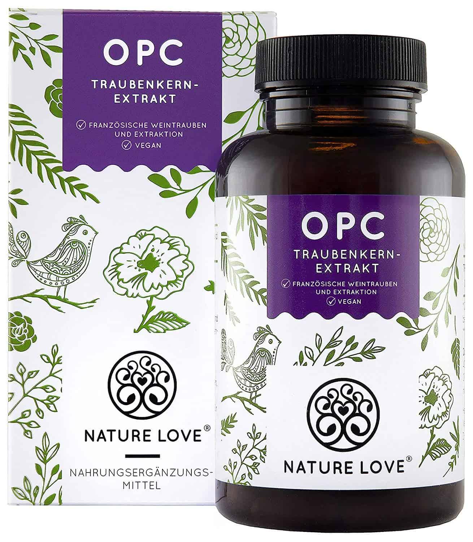 NATURE LOVE® OPC Traubenkernextrakt - Aus französischen Trauben UND Extraktion in Frankreich - 800mg Extrakt je Tagesdosis - Laborgeprüft, vegan, in Deutschland produziert