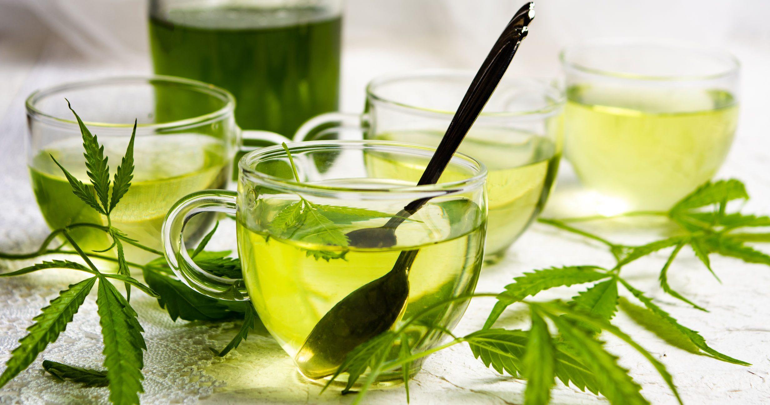 Cannabis herbal tea served in glass teacups