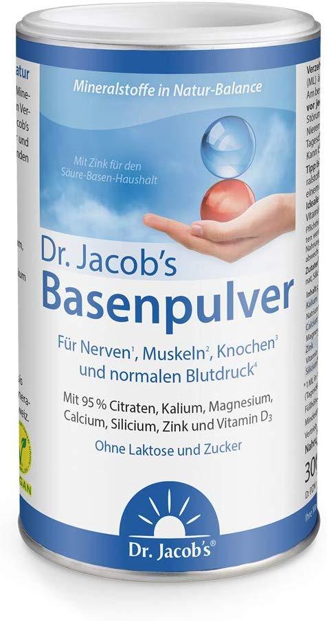 Dr. Jacob's Basenpulver auf Citratbasis I mit über 30 Gesundheitswirkungen I besonders viel Kalium wie in Gemüse und Obst, Calcium Magnesium Zink Vitamin D, auch für Diäten und Basenfasten I 300 g Dose Original Citrat-Basen-Pulver