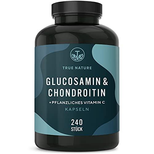 Glucosamin & Chondroitin Hochdosiert - 240 Kapseln - mit Vitamin C (trägt zur normalen Kollagenbildung bei) - 3160mg pro Tagesdosis - Pharmazeutische Qualität - Deutsche Produktion - TRUE NATURE®