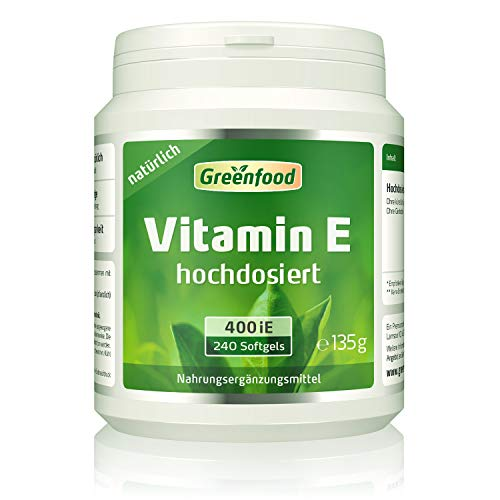Vitamin E, 400 iE, natürlich, 240 Softgel-Kapseln – wichtiger Anti-Oxidant, schützt die Zellen vor vorzeitiger Alterung (Anti-Aging). OHNE künstliche Zusätze. Ohne Gentechnik.