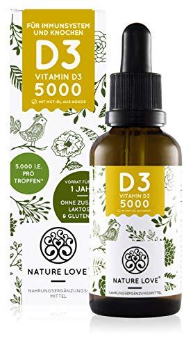 NATURE LOVE® Vitamin D3 5000 (50ml flüssig) - Laborgeprüfte 5000 I.E. pro Tropfen - Hochwertig: sehr hohe Stabilität - Hochdosiert, in Deutschland produziert