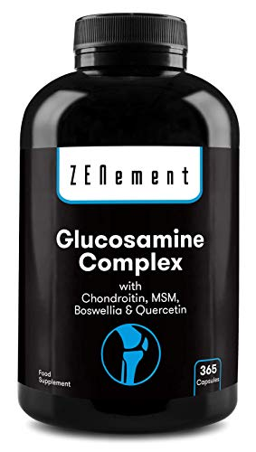 Glucosamin Komplex mit Chondroitin, MSM, Boswellia und Quercetin, 365 Kapseln   GMO-frei, frei von Zusatzstoffen, glutenfrei, GMP   von Zenement