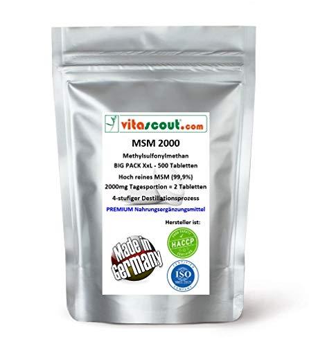 MSM - Methylsulfonylmethan - 500 Tabletten - 2000mg Tagesportion (=2 Tabletten) - 99,9% Reinheit - LABORGEPRÜFT - MADE IN GERMANY - hochdosiert
