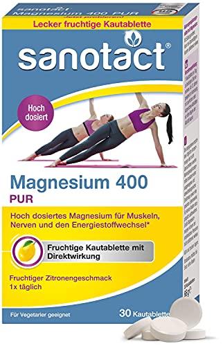 sanotact Magnesium 400mg PUR • 30 Kautabletten mit Magnesium hochdosiert • Magnesium mit Sofortwirkung • Fruchtiger Zitronengeschmack • Magnesium für Kinder ab 12 Jahren
