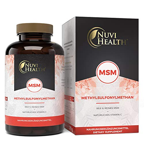 MSM 2000mg pro Tagesdosis - 365 vegane Tabletten - Mit natürlichem Vitamin C (Acerola Extrat) - Laborgeprüft - Ohne Zusatzstoffe - Vegan - Hochdosiert