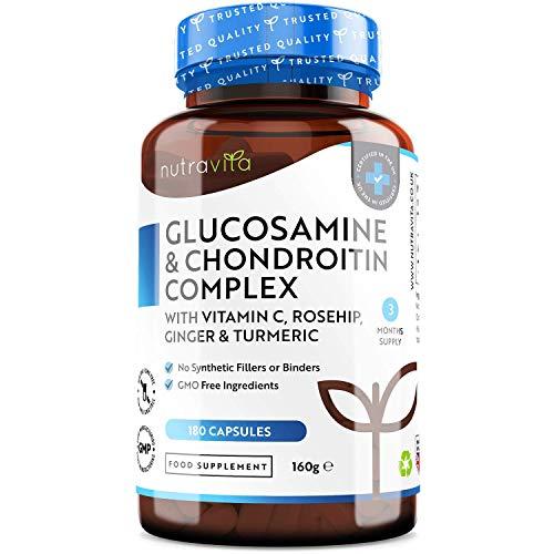 Glucosamin & Chondroitin Komplex - 180 Kapseln - mit Vitamin C, Kurkuma, Ingwer und Hagebutte - GVO Frei und ohne Zusätze - Hochdosiert